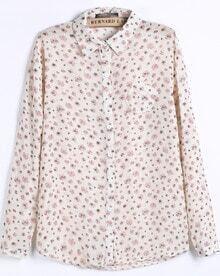Apricot Long Sleeve Dandelion Print Chiffon Blouse