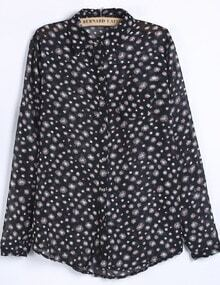 Black Long Sleeve Dandelion Print Chiffon Blouse