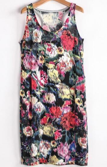 Black Abstract Florals Print Tank Dress