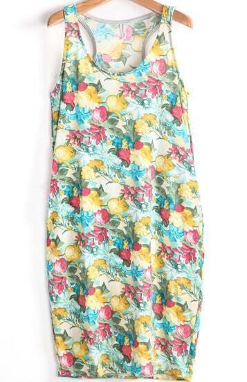 Green and Yellow Florals Print Tank Dress