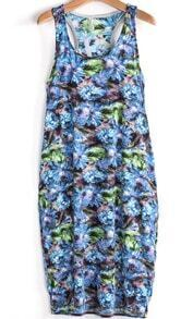 Blue and Green Florals Print Tank Dress