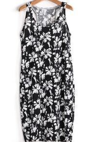 Black and White Florals Print Tank Dress