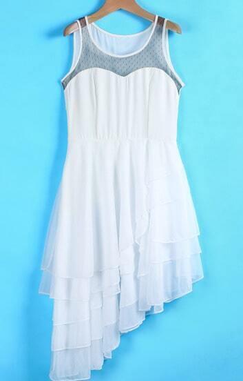 White Sleeveless Contrast Gauze Layered Asymmetric Dress