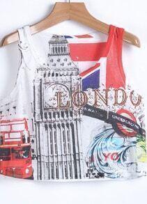White Londo Bus Print Camisole
