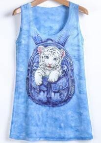 Blue Cat Print Round Neck Vest
