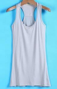 Grey Basic Scoop Neck Cami Top