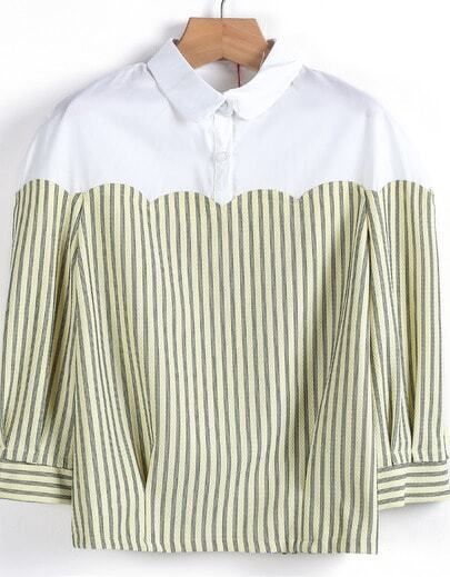 Yellow Contrast White Striped Crop Blouse