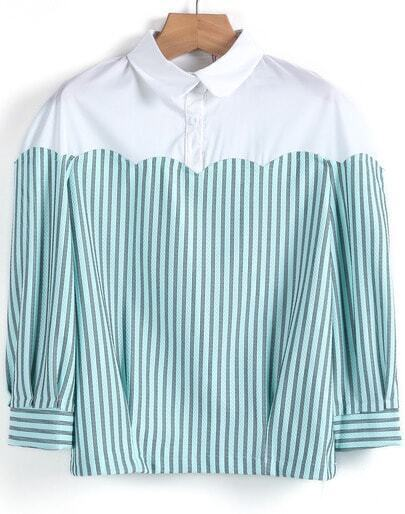 Green Contrast White Striped Crop Blouse
