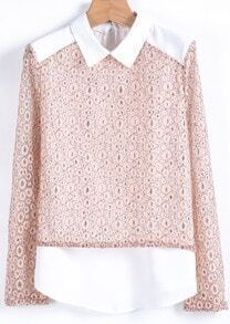 Pink Long Sleeve Contrast Chiffon Panel Lace Blouse