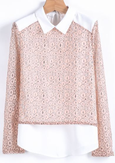 Pink Long Sleeve Contrast Chiffon Panel Lace Blouse
