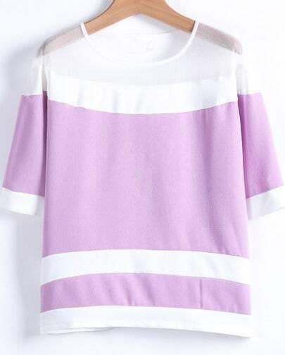 Purple Contrast White Gauze Striped Blouse