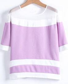 Purple Contrast White Gauze Striped Blouse