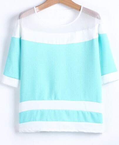 Blue Contrast White Gauze Striped Blouse