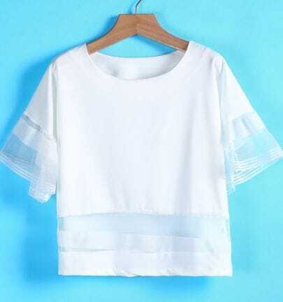 White Contrast Gauze Short Sleeve Blouse