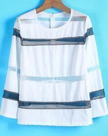 White Contrast Gauze Long Sleeve Blouse