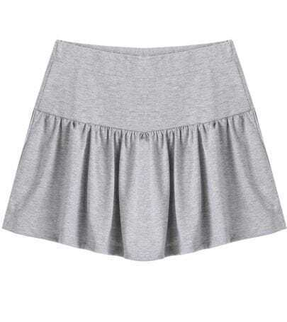 Grey Contrast Pleated Hem Short Skirt