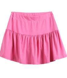 Pink Contrast Pleated Hem Short Skirt
