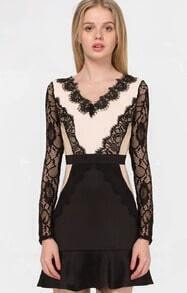 Black Long Sleeve Backless Lace Ruffle Dress