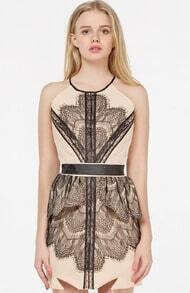 Nude Sleevless Contrast Black Lace Peplum Dress