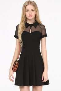 Black Short Sleeve Mesh Peak Collar Skater Dress