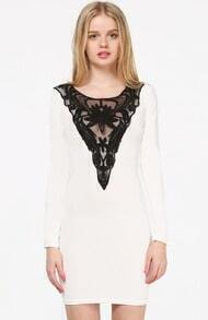 White Long Sleeve Contrast Hollow Embroidered Dress