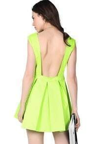 Neon Green Sleeveless Ruffle Backless Dress