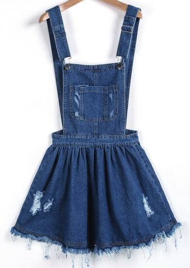 Blue Strap Ripped Denim Pinafore Dress