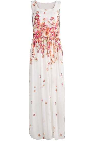 White Sleeveless Floral Pleated Chiffon Long Dress