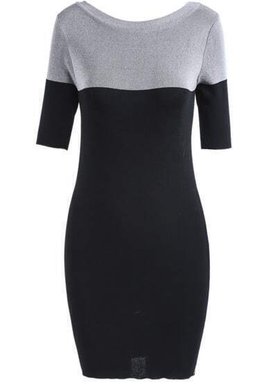 Grey Contrast Black Short Sleeve Bodycon Dress