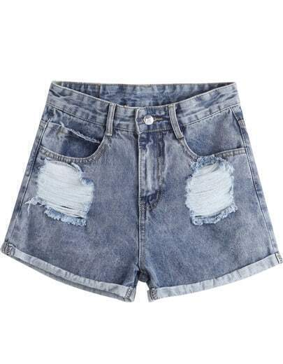 Grey Flange Pockets Ripped Denim Shorts
