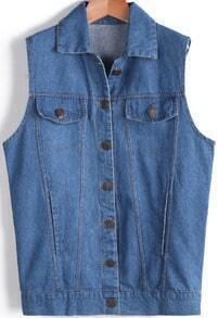 Blue Lapel Sleeveless Hand Print Denim Vest