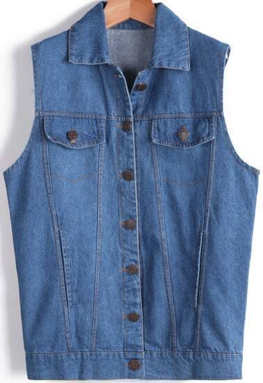 Blue Lapel Sleeveless Hand Print Denim Vest