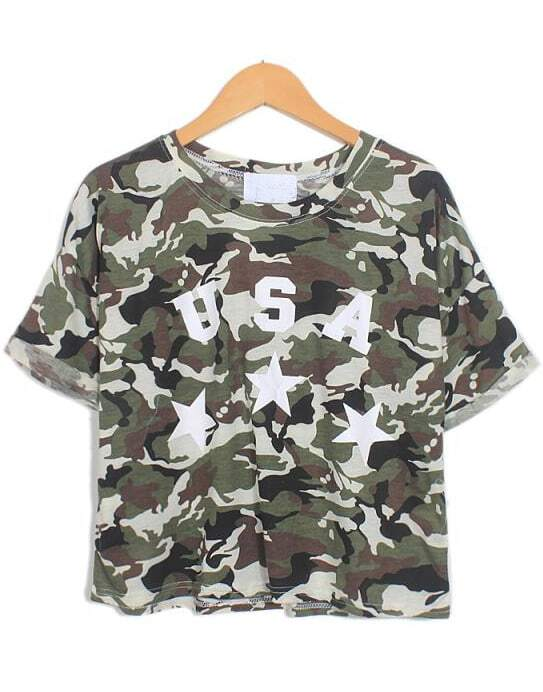 Army green camouflage short sleeve usa print t shirt for Camouflage t shirt printing