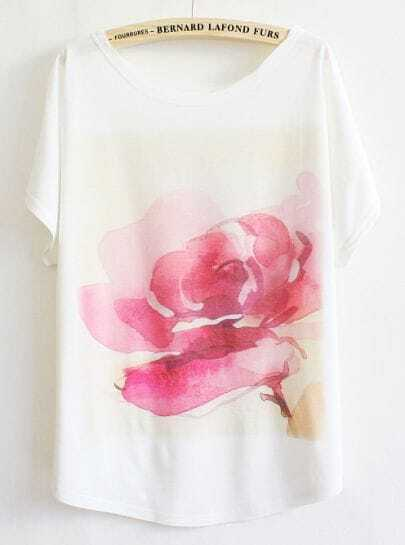White Batwing Floral Pattern T-shirt