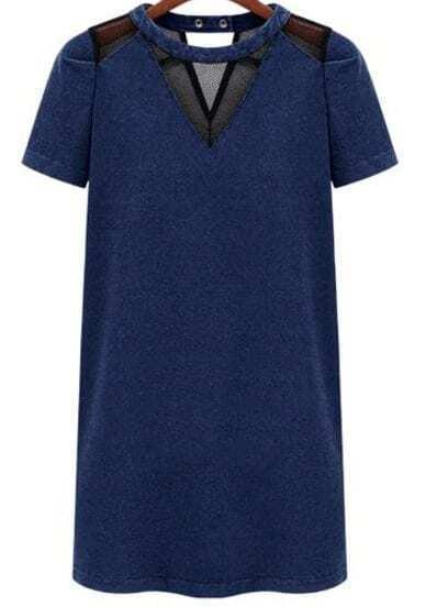 Тёмно-синее контрастное полое джинсовое платье