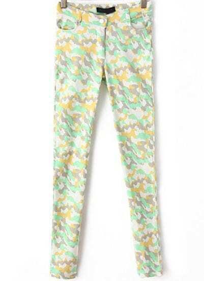 Green Camouflage Slim Elastic Pant