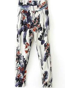 White Zipper Embellished Floral Pant
