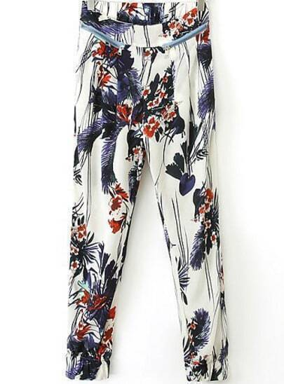 White Zipper Embellished Floral Pant