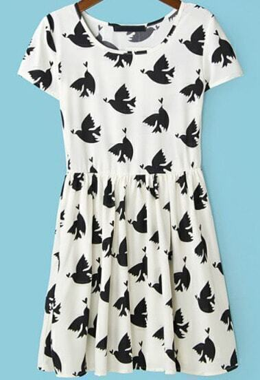 White Short Sleeve Birds Print Pleated Dress