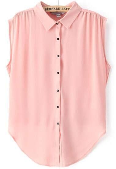 Pink Lapel Sleeveless Buttons Chiffon Blouse