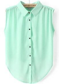 Green Lapel Sleeveless Buttons Chiffon Blouse