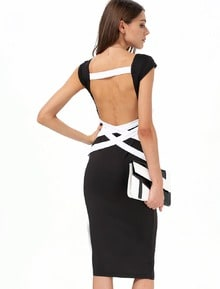 Black Cross Backless Bandage Dress