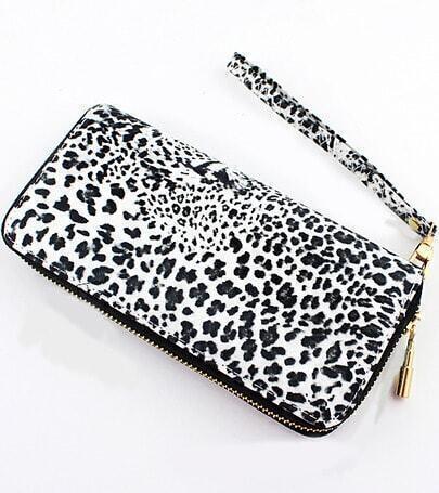 White Leopard Print Zipper Clutches Bag