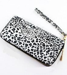 White Leopard Print Zipper Clutches Bag