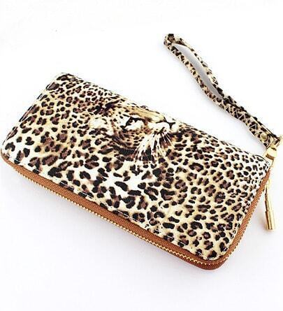 Yellow Leopard Print Zipper Clutches Bag