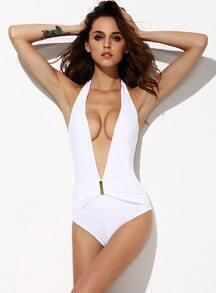 White Deep V Neck Halter Swimsuit