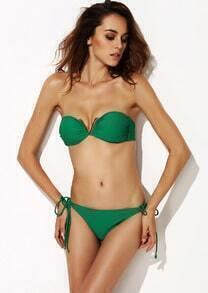 Green V Wire Strapless Bandeau Bikini
