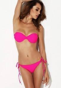 Rose Red Strapless Bandeau Bikini