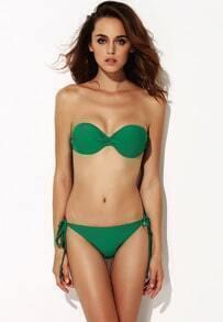 Green Strapless Bandeau Bikini