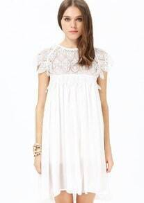 White Contrast Lace Short Sleeve Ruffle Dress